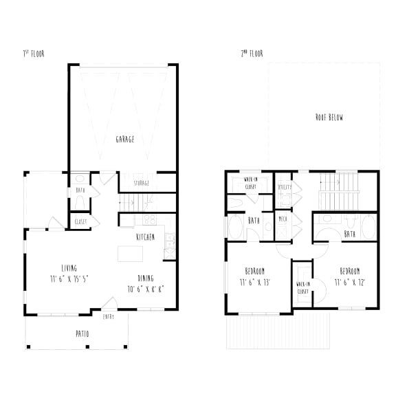 Floor Plan  THB5: 2 Bedroom, 2.5 Bathroom, 2 Car Garage Townhome