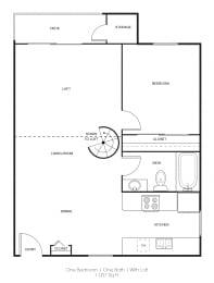 1BR/1BA B Floor Plan at Independence Plaza, California