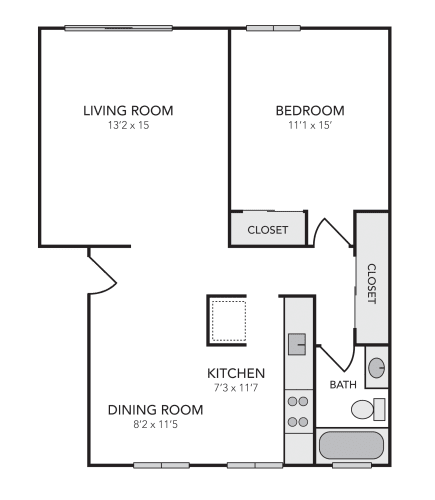 Floor Plan  1x1 units available in Walnut Creek, CA | The Meridian