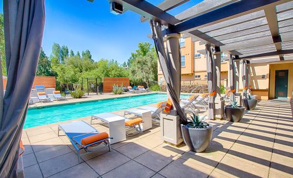 Swimming Pool Relaxing Area at Renaissance Apartment Homes, Santa Rosa, CA,95404