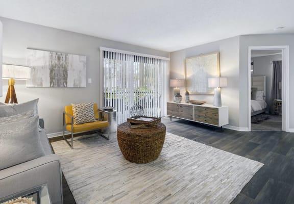 Model living room at Caribbean Breeze Apartments in Tampa, FL