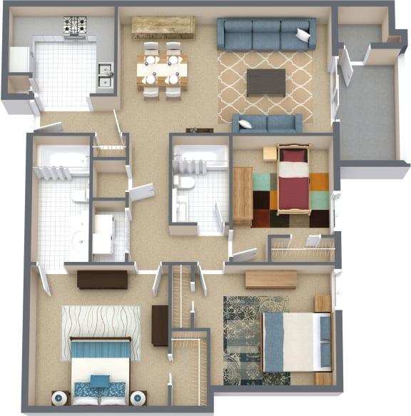 Floor Plan  3 Bd 2 Bth