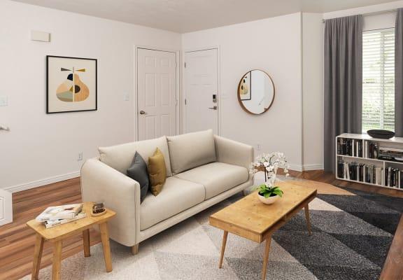 stylish living room decor at Devonshire Court Apartments in Logan, UT