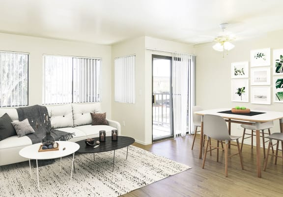bright and naturally lit living room area at Rio Seco Apartments in Tucson, AZ 85746