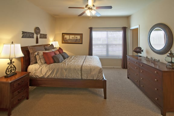 Ceiling fans in living rooms and all bedrooms