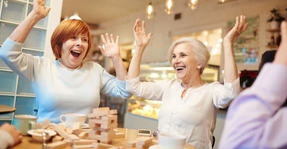 Seniors Playing a Game Spokane Washington Apts For rent l Vintage at Spokane Senior Apts