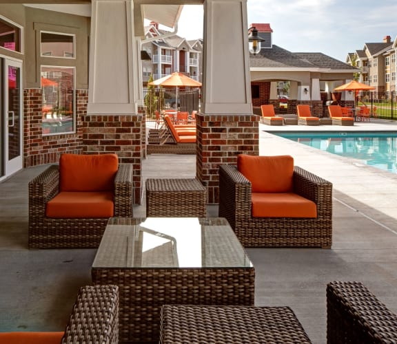 Lounge Area by the Pool at at The Alloy at Geneva in Vineyard, UT 84058