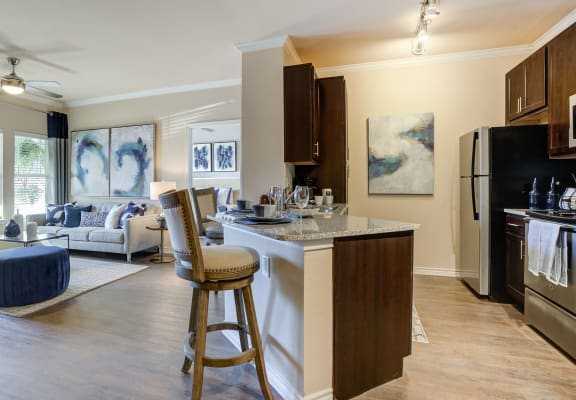 Kitchen With Island Dining at Residence at Midland, Midland, TX, 79706