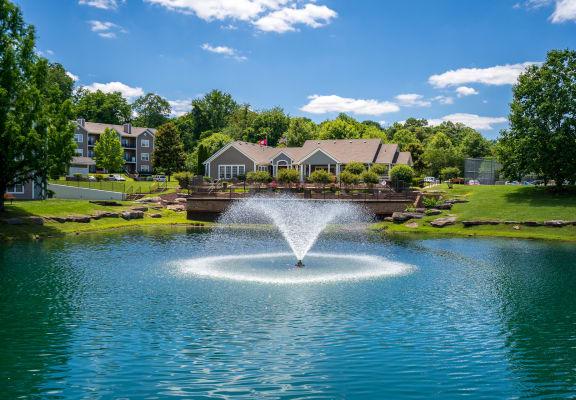 Idyllic Pond & Flowing Fountain