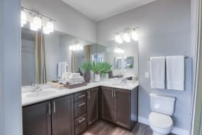 Designer Light Fixtures and Double Vanity at Retreat at the Flatirons, Broomfield, CO