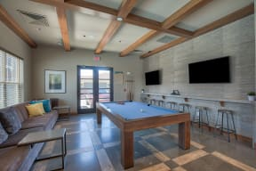 Recreation Room with Billiards Table at Retreat at the Flatirons, Broomfield, CO