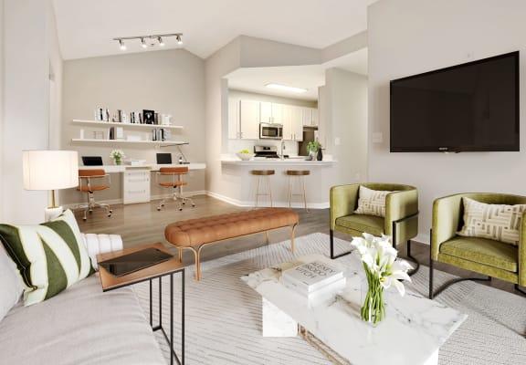 Bright living room at Windsor Herndon, 2399 Glen Echo Road, Herndon