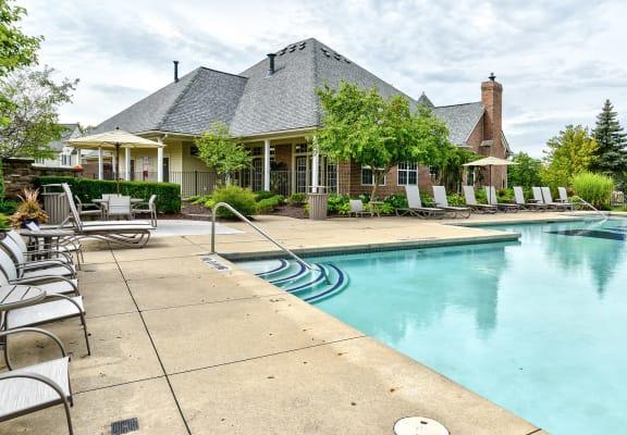 sparkling swimming pool  at The Villas at Main Street, Michigan, 48103