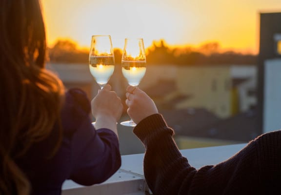 two people holding wine glasses