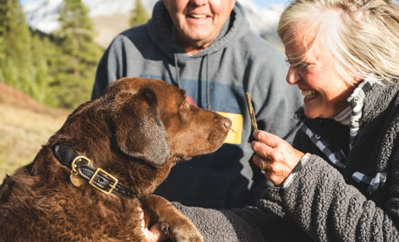 Older Couple Outside with Dog