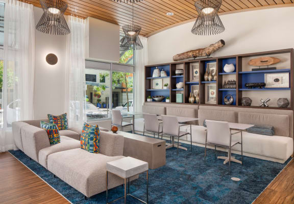 Waterscape at Juanita Village Apartments Clubhouse Seating and Decorative Shelves