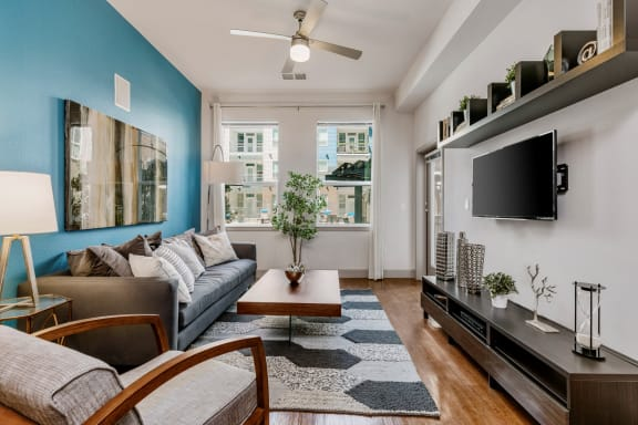 City House Apartments Model Living Room and Window