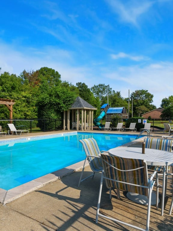 Pool seating at Laurel Valley Apartments in Mount Juliet Tennessee March 2021