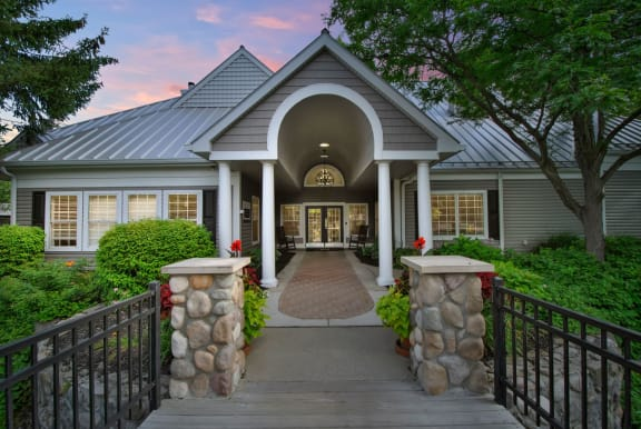 Clubhouse Entrance Exterior View at the Haven of Ann Arbor, MI, 48105