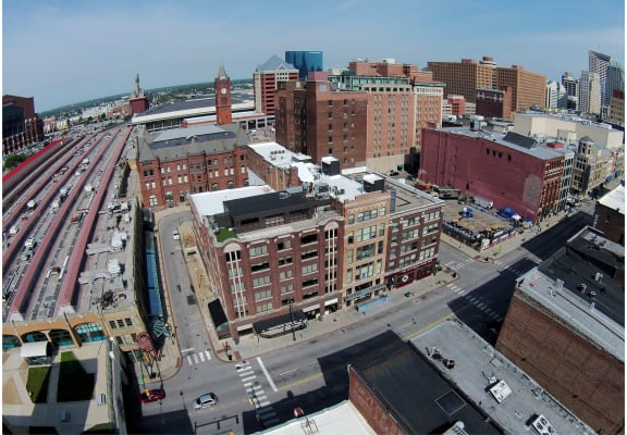 Aerial view of building at Janus Lofts, Managed by Buckingham Urban Living, 255 S. McCrea Street, Indianapolis