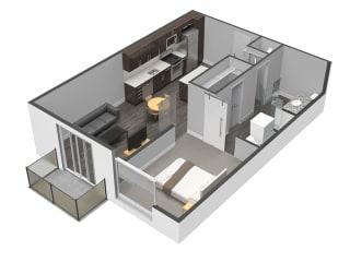 A4 One Bed One Bath Floor Plan at Spoke Apartments, Atlanta