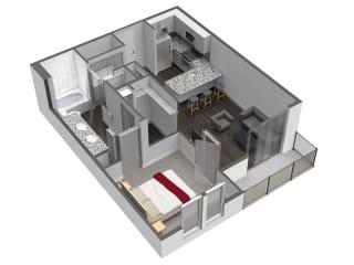 A5 1 Bedroom 1 Bathroom Floor Plan at Spoke Apartments, Georgia