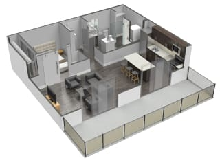 A6 1 Bed 1 Bath Floor Plan at Spoke Apartments, Georgia, 30307