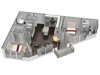 B5 2 Bedroom 2 Bathroom Floor Plan at Spoke Apartments, Atlanta