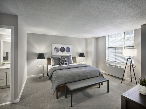 Bedroom With Expansive Windows at The Franklin Residences, Philadelphia, PA