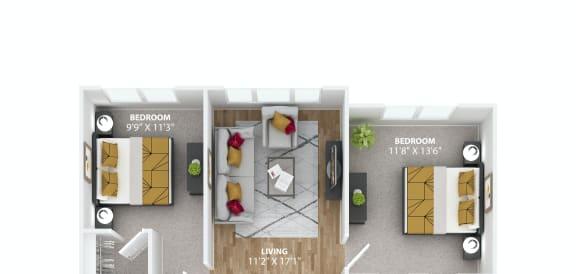 Floor Plan  Lapis Floor Plan at Azure Houston Apartments, Houston, 77007