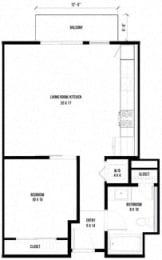 1B3 – 1 Bedroom 1 Bath Floor Plan Layout – 676 Square Feet