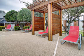 Outdoor cabanas by swimming pool