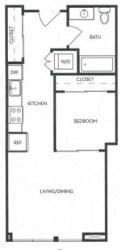 Studio 1 Bath 513 square feet floor plan A2 - MFTE