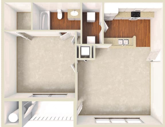 Floor Plan  1 Bed 1 Bath Floor Plan at Lakeview at Cottage Hill, Mobile, 36695