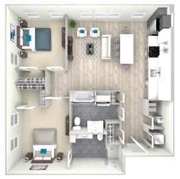 Two Bed Two Bath 1067 Floor Plan at Nightingale, Providence, RI