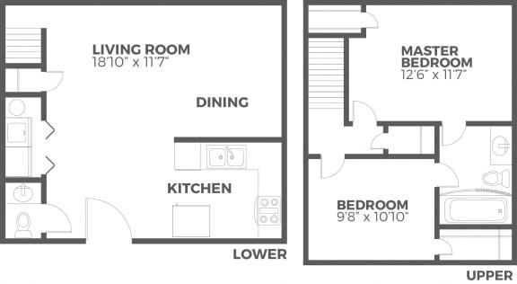 Floor Plan  Clearpoint Valley 2 Bedroom 1.5 Bath