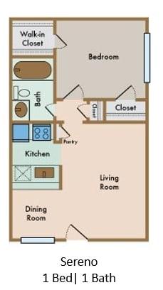 Floor Plan  LaVita on Lovers Lane 1 bedroom 1 bathroom floor plan