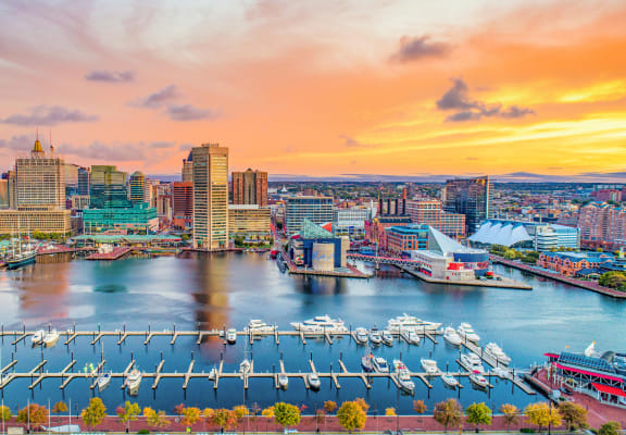 Baltimore city skyline at sunset at the zenith apartments in Baltimore md