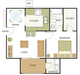 A1 Floor Plan at Newport Apartments,  CLEAR Property Management, Irving, Texas