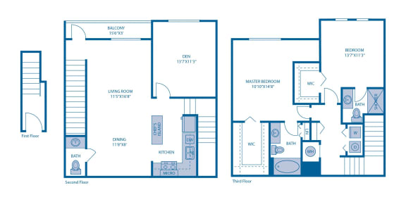 Floor Plan  Two Bedroom Floor Plan  at Horizon at Miramar, Miramar, Florida