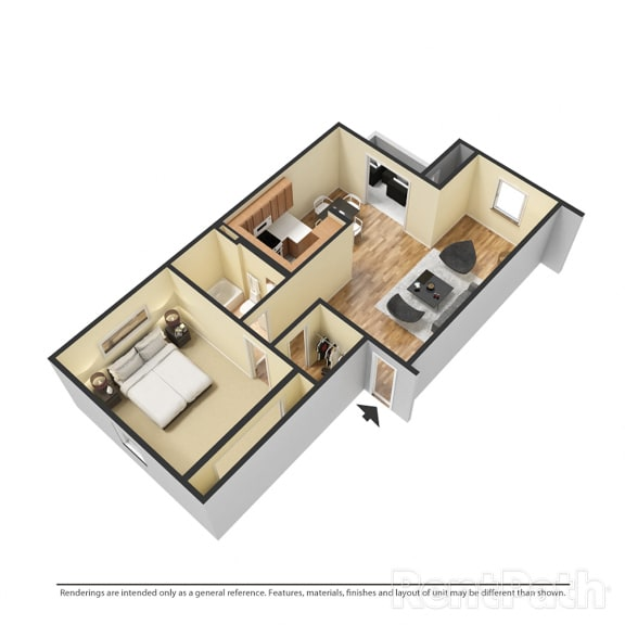 Floor Plan  1 Bedroom Garden Available  at Lake Marina Apartments, Indianapolis, Indiana