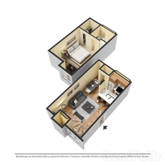 Floor Plan  1 Bedroom Townhouse Available at Lake Marina Apartments, Indianapolis, 46229