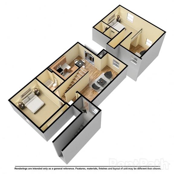 Floor Plan  2 Bedroom Loft Available at Lake Marina Apartments, Indianapolis