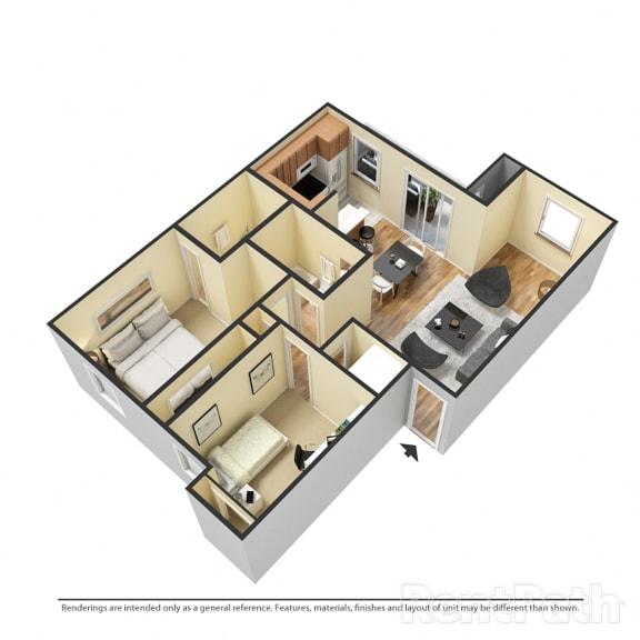 Floor Plan  2 Bedroom Garden Available at Lake Marina Apartments, Indiana