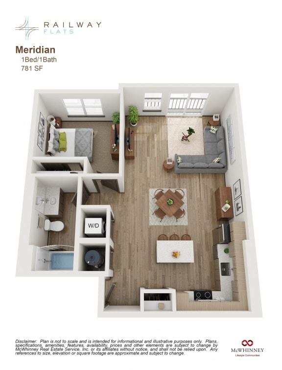 Floor Plan  Meridian Floor Plan - 1 Bed/1 Bath