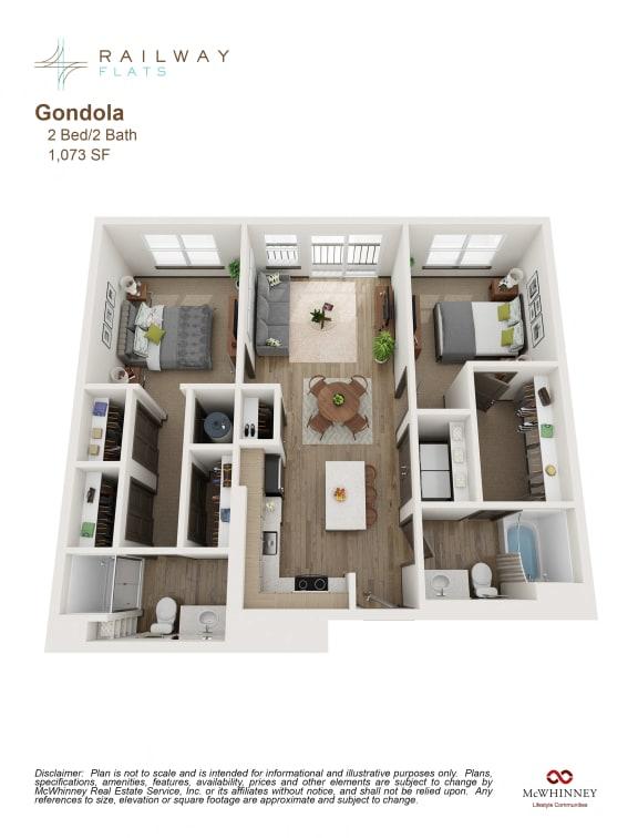 Floor Plan  Gondola Floor Plan - 2 Bed/2 Bath