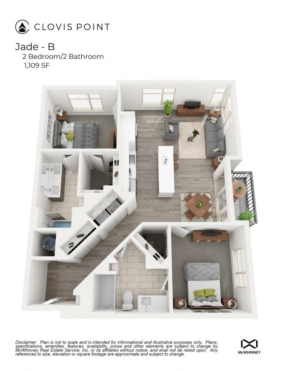 Floor Plan  Jadejpg Floor Plan at Clovis Point, Longmont, CO, 80501