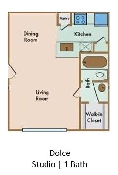 Floor Plan  LaVita on Lovers Lane Studio 1 bathroom floor plan