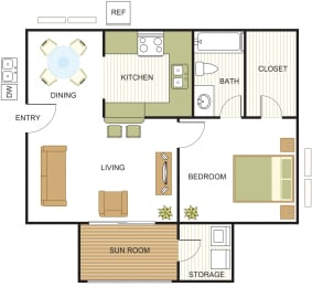 A2 Floor Plan at Newport Apartments, CLEAR Property Management, Irving, TX, 75062