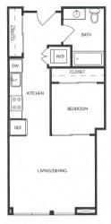 Studio 1 Bath 513 square feet floor plan A2